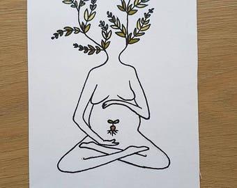 Mothernature Rebirth, Original drawing - size A4