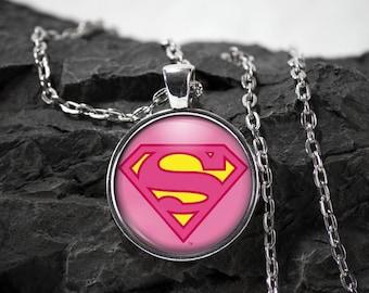 Supergirl Glass Pendant superhero Supergirl necklace Supergirl jewelry photo pendant art pendant photo jewelry art jewelry glass jewelry