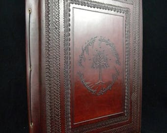 Large Tolkien Tree of Gondor - Handmade Leather Guest Book, Wedding Album