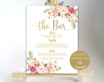 Bar Menu Sign The Bar Sign Wedding Bar Menu Printable Wedding Sign Wedding Bar Sign Drink Menu Poster Instant Download 8x10, 18x24, 24x36