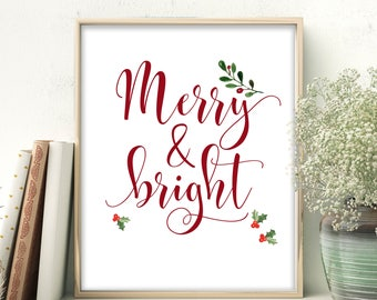 Printable Merry and Bright Christmas Printable Decor Wall Art Christmas Sign Holiday Typography Decor Red and Green Decor Christmas Decor