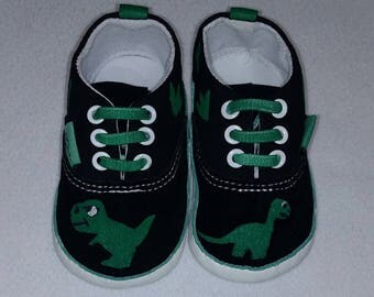 Hand Painted Baby Dinosaur Shoes