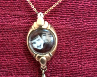 Repurposed ladies vintage watch locket panorama pendant necklace theater drama masks