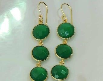 green onyx 22k gold plated 925 sterling silver dangle earrings