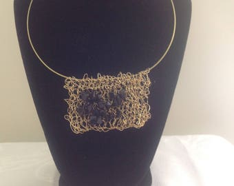 Hand-knitted beaded necklace