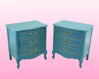 Pair of Mid-Century Dixie French Provincial Nightstands