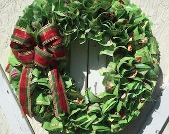 Rag Wreath,  Christmas Rag Wreath, Christmas Wreath, Fabric Wreath, Holiday Wreath, Front Door Wreath