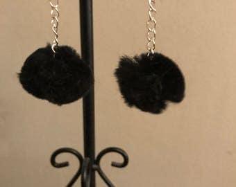 Fluffy black Pom Pom earrings