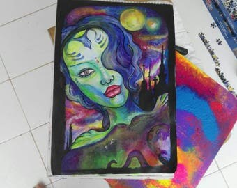 Andromeda council, galaxy, watercolor, acrylic, pencil, fluorescente, glow dark