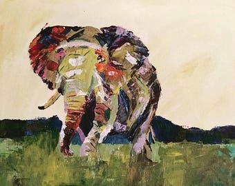 Pallet Knife Elephant (framed)