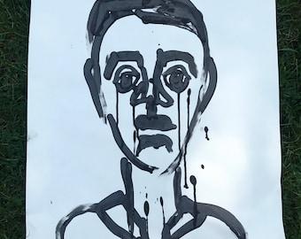 Funky sad ink portrait