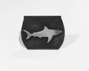 Handmade Sterling Silver Shark in a Fish bowl Pin or Brooch