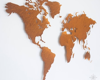 Design world map Rusty-Wall decoration (mural, steel, shabby chic, Deco)
