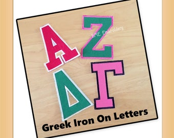 Greek Letters-Iron On-Sorority Letters-Fraternity Letters-Greek Alphabet Letters-Made to Order