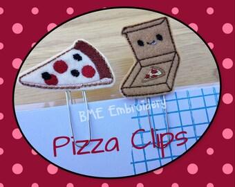 Planner Clips-Felt Pizza Clip-Pizza Box - Paper Clips-Planner Accesory- Agenda Clip- Paper Organization-Journal Clip- Bookmark