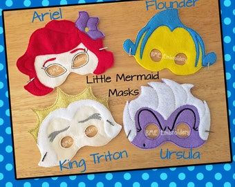 Little Mermaid Inspired Felt Masks- Ariel-Ursula-Flounder-Triton-Child's Dress Up Imaginary Play-Birthday Favor-Photo Shoot-Theme Party