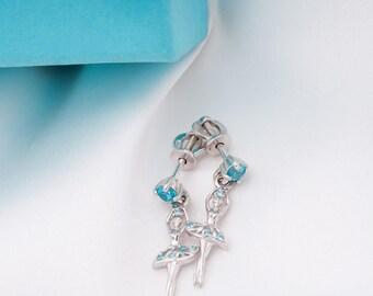 Little Ballerina Earrings-Ballet Studs-Ballet Gift-Ballerina Gift-Art Earrings-Dancer Earrings-Dangling Earrings-Dancer Gift