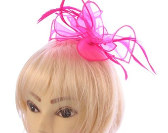 Hot pink fascinator on a headband, weddings, races, prom