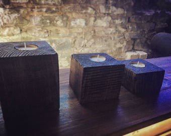 Handmade wooden rustic candle set of 3