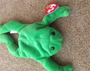 1st Generation Original Collectors TY Legs frog beanie baby DOB April 25, 1993, Retired October 1, 1997