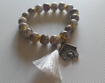 Beaded Bracelet with Dog House Charm