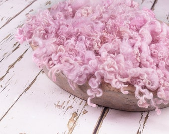 "Texture Fluff ""Seashell Pink"", basket stuffer, wool fluff, newborn prop, natural cotswold wool locks - pale baby pink, naturally dyed"