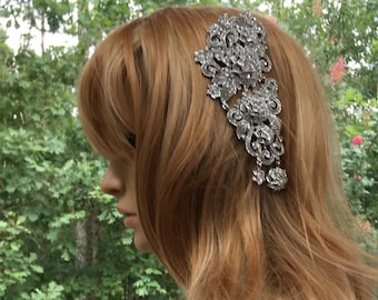 Silver Wedding Hair Comb, Gold Wedding Hair Comb, Crystal Wedding Hair Comb, Silver Gold Hair Comb, Silver Bridal Hair Comb