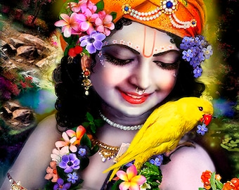 Krishna with Parrot