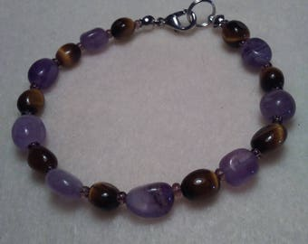 Amethyst and Tiger Eye Beaded bracelet