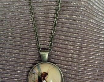 vintage style fairy cabochon necklace