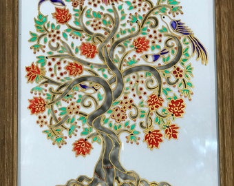 Tree, Glass painting, Glass wall art, Golden tree