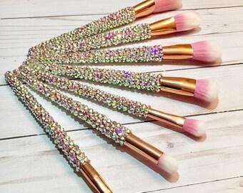 7 Piece Rhinestone Makeup Brush Set