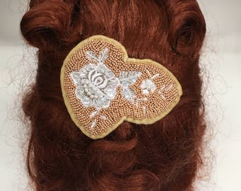 Hand beaded hair slide