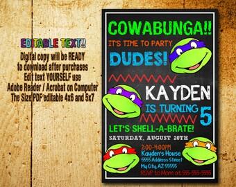 Ninja Turtles Invitation,Ninja Turtles  Birthday,Ninja Turtles Party,Ninja Turtles Card,Ninja Turtles,Ninja Turtle Editable,TNMT,Ninja