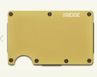 Ridge Wallet RFID Blocking Aluminum - Gold With Cash Strap 100% Authentic