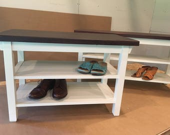 "Hallway / Mud Room / Foyer Bench 46"" With Two Shoe Shelves In Your Choice Of Color"