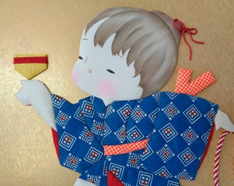 VJ287:Oshie/Kurumie doll,Japanese paper/fabric doll Oshie/ Kurumie on a shikishi board, Japanese Paper/fabric Art Craft,Handcrafted in Japan