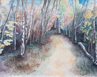 Watercolor Painting of forest in autumn