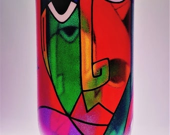 Large Hand painted Abstract Faces glass vase by Bilbo