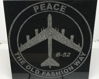 """12"""" x 12"""" Black Granite Tile Laser engraved with the USAF B-52 Bomber """"Peace is our Profession"""" Patch"""