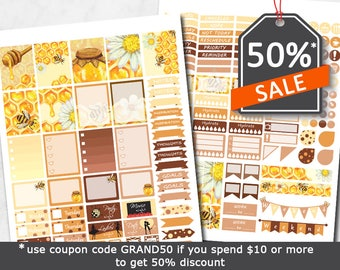 Honey bees planner stickers, diy printable stickers, orange yeallow sticker kit, bumble bee honeycomb labels