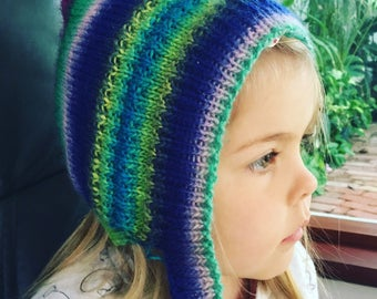 Hand Knitted Baby/Kids Pixie Bonnet
