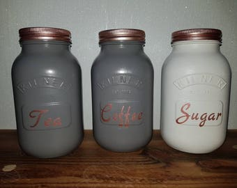 1ltr Tea Coffee Sugar Utensils Kilner storage jars/ honey bee/ kitchen decor/ birthday gift/ house warming/ pen pots