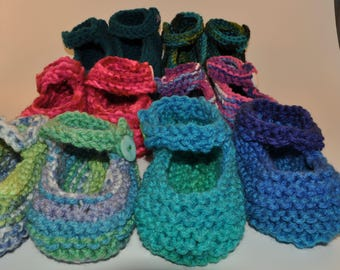 Knit Baby Mary-Jane Baby Booties