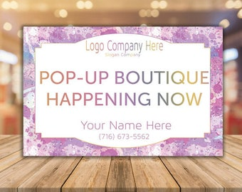 Pop Up Boutique Banner, Consultant Yard Sign, Free Fast Personalization, Large 18x27 - For Fashion Consultant