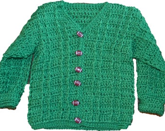 Hand made crocheted baby sweaters 6 to 12 months Green
