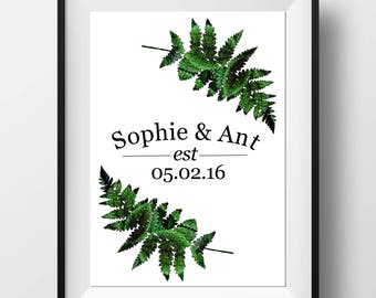 Anniversary Date Print - Wedding Date Print - Personalised Wedding Gift - Custom Anniversary Gifts - Fern Leaf Print - Nature Themed Gift