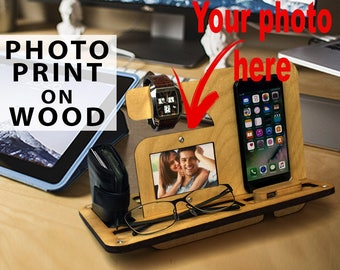 Natural PLYWOOD Valet|GIFT for boyfriend|Personalized|Phone Galaxy Charging Stand|Nightstand Dock|Father's Day Birthday for Him|gift for men