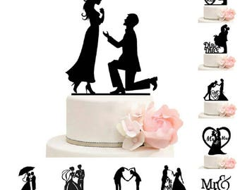 Cake Topper Romantic Wedding  Mr Mrs Acrylic Black Toppers Romantic Bride Groom For Wedding Decoration Mariage Party Favors Weddings Cake