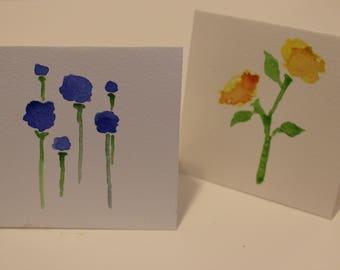 Watercolor flower notecards (pack of 3)